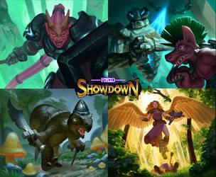 Forced Showdown card illustrations by SimonARPalmer