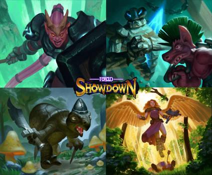 Forced Showdown card illustrations
