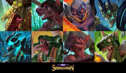 Forced Showdown boss portraits by SimonARPalmer