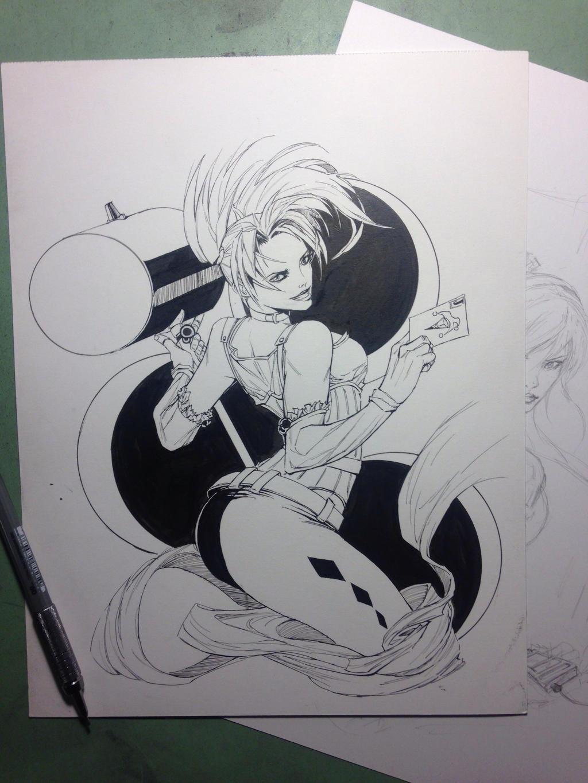 Harley Quinn (WIP) BW sketch by randomacroblack