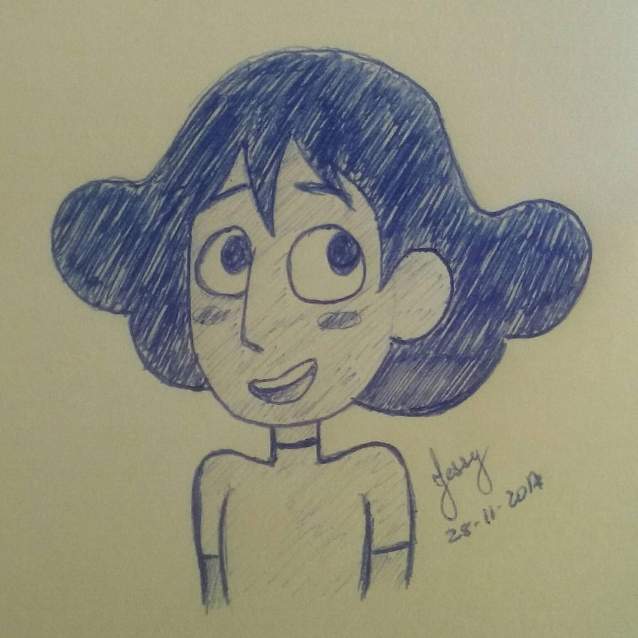 A drawing about Connie with new look, belongs Steven Universe 💜💜💜 Made it with blue pen on post-it. Enjoy!! #SU #StevenUniverse #ConnieSU #Connie #drawing #ilustrations #Cry...