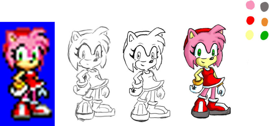 amy rose sprite trace by rabid dog 42