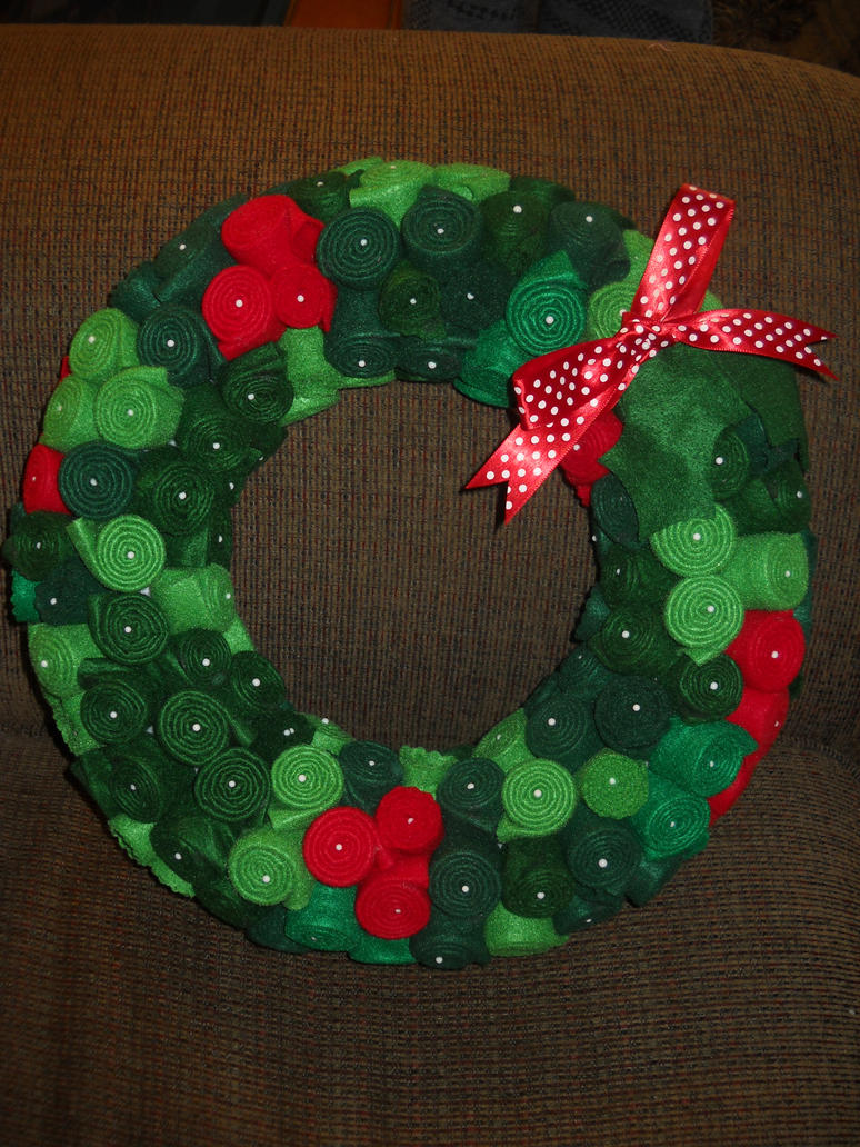 Felt squares Christmas Wreath by Celtic-Dragonfly