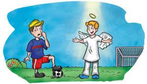 Charge menino e seu amigo Anjo Boy and Angel
