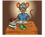 Charge cartoon Ratinho estudante Studant Mouse