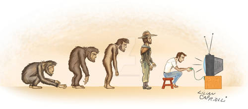 Charge cartoon Evolucao do homem evolution of man