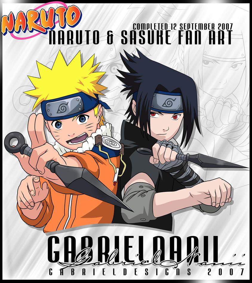 Naruto and Sasuke Fan Art by TheNotoriousGAB