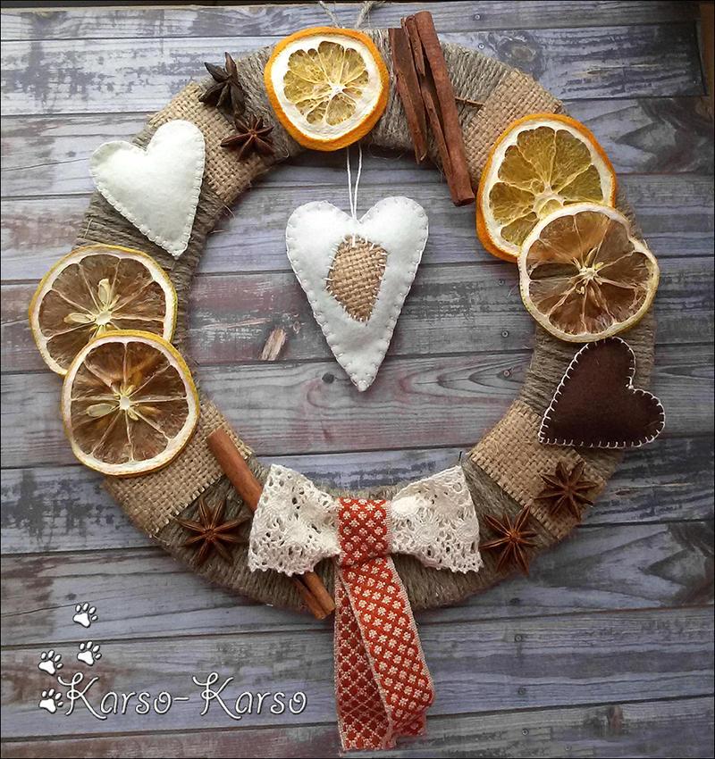 Citrus Boho Christmas Wreath by karsokarso