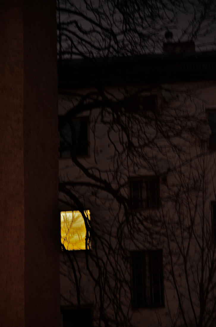 a yellow window in the night by Batsceba