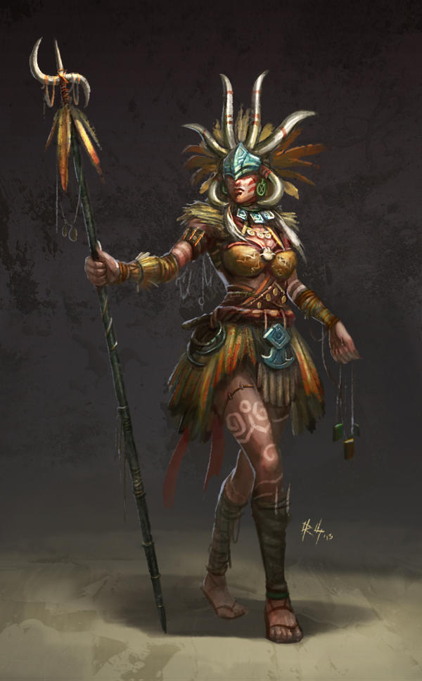 Ancient Tribe Female Shaman by r-chie