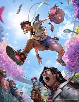 Capcom Fighting Tribute:Sakura is late for School