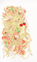 Ghetti the spaghetti warrior and her minions by SophiaFeesh
