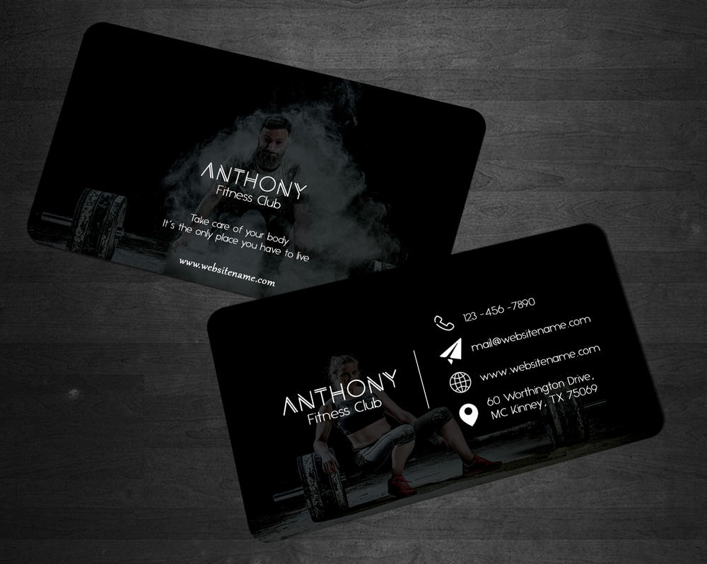 Anthony Fitness Club - Business Card by creativenick9 on DeviantArt