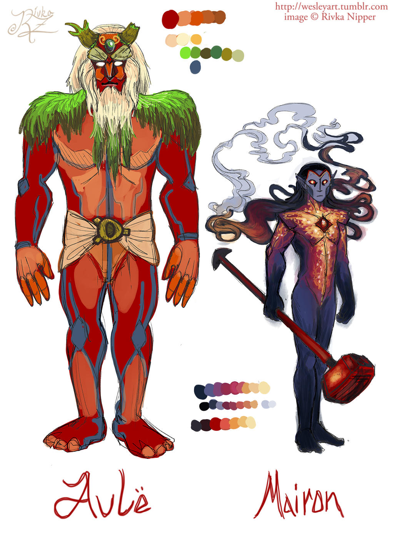 Concept art- Aule and Sauron by RivkaZ