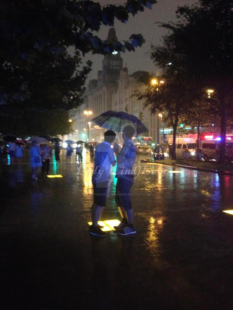 Boys in Shanghai Rain by LadyWindflower