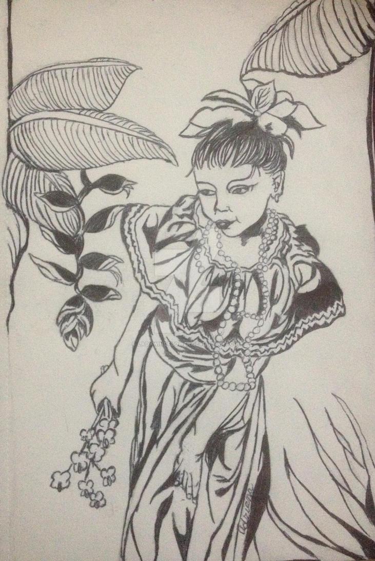 Honduran Girl (Chinese Papercutting Style) by LadyWindflower