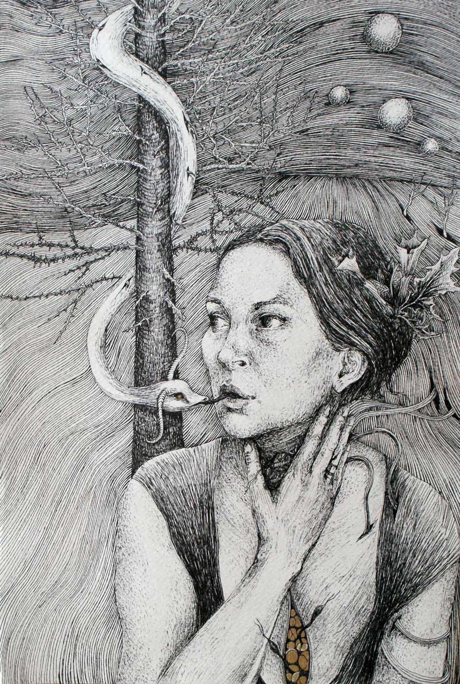 Portrait with datura by marzenaabl