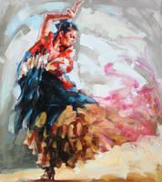 FLAMENCO in the painting by renatadomagalska