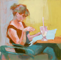 Reading Woman in the cafe by renatadomagalska