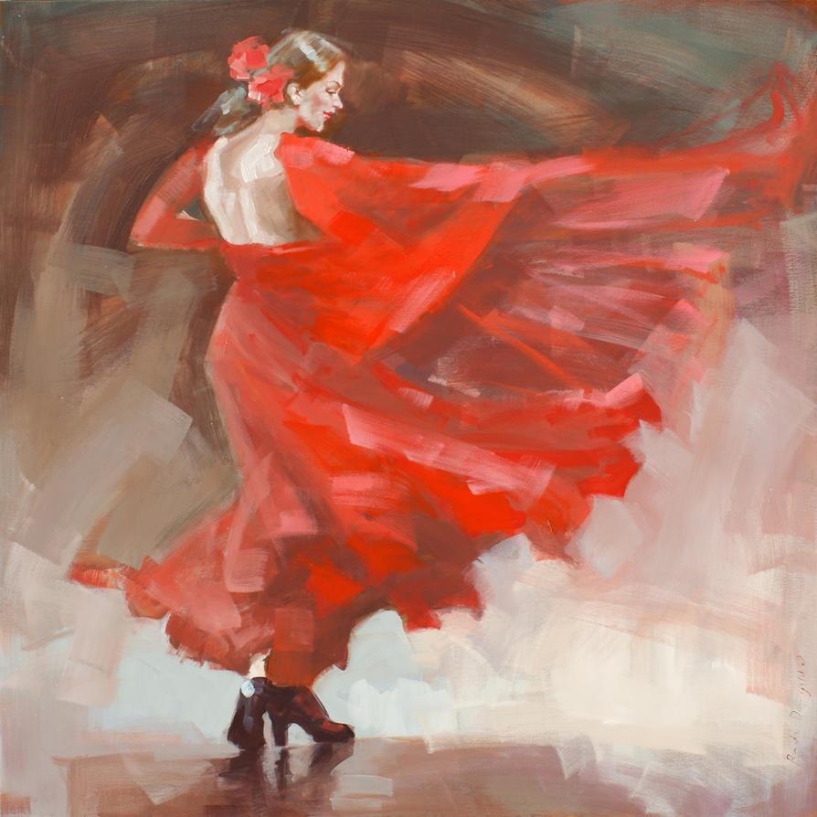 red flamenco dress by renatadomagalska on deviantart
