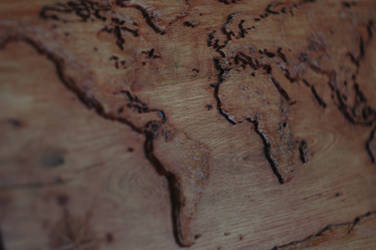 Map of the world in wood by GremlinzTattoo