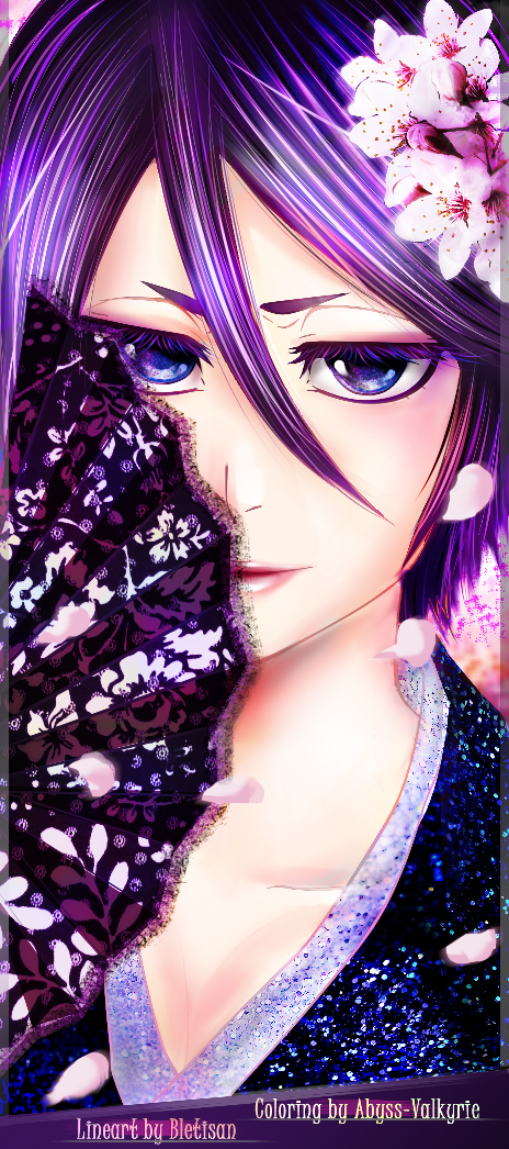Rukia nihon-lineart coloring by Abyss-Valkyrie