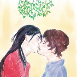 Remus and Sirius-mistletoe kiss by Abyss-Valkyrie