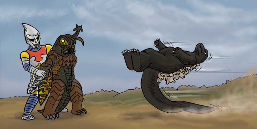 Godzilla vs Megalon kick by killb94 on DeviantArt