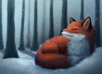 Fox in the snow by Meep--Merp