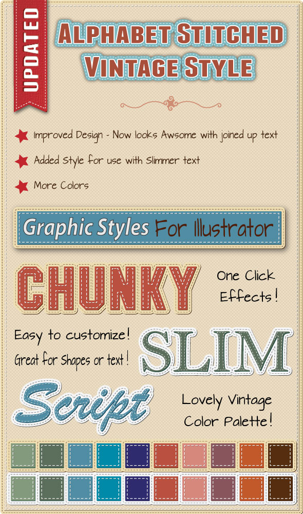 Graphic Style For Illustrator - Stitch Effect by JaneVision