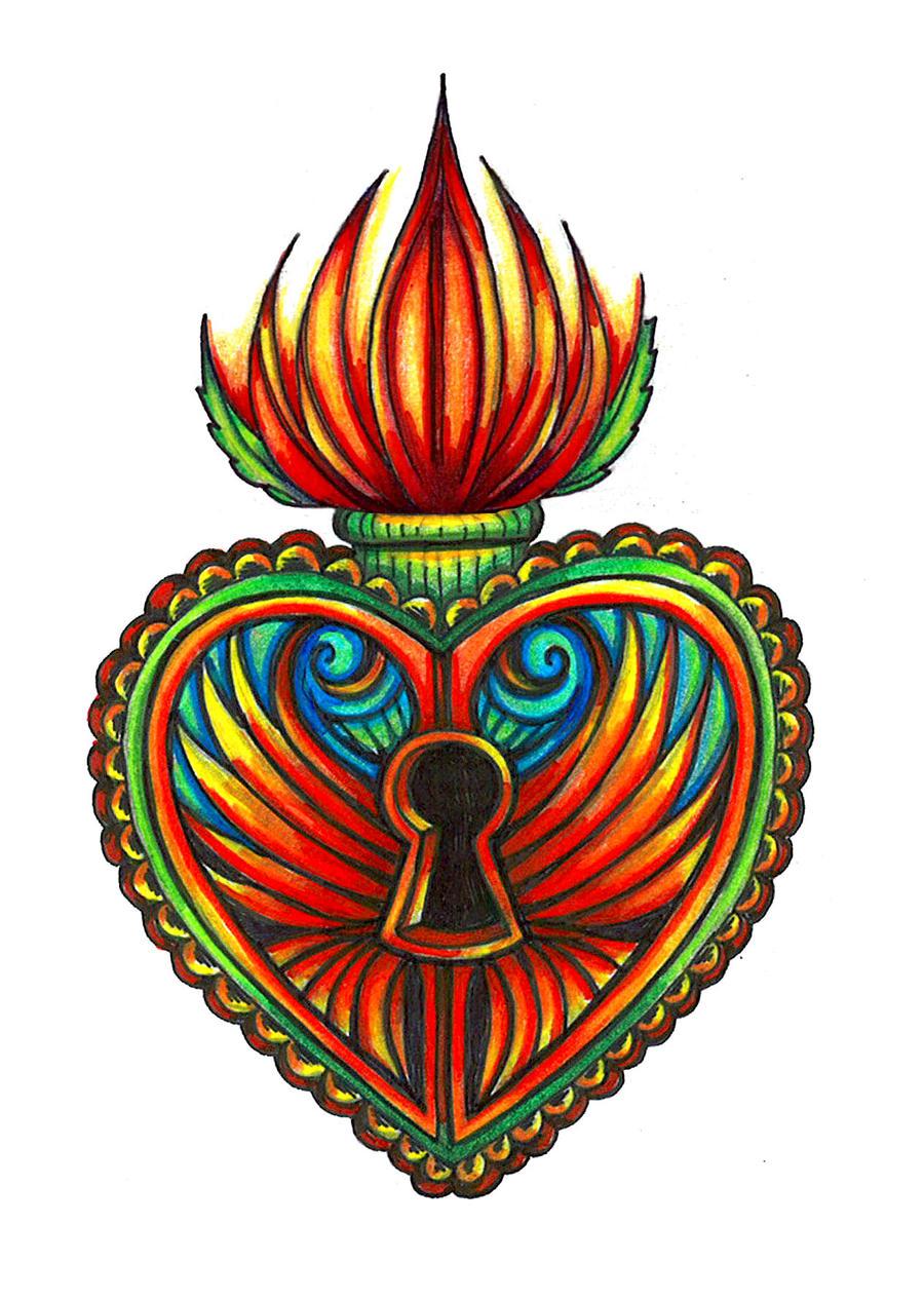 milagro sacred heart lotus tat by spookyspittle on deviantart. Black Bedroom Furniture Sets. Home Design Ideas