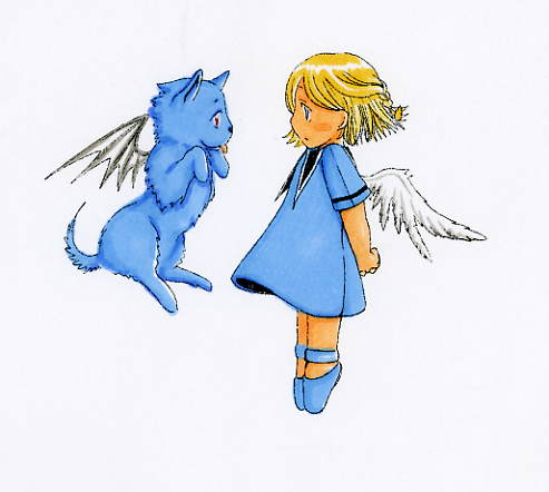 Chibi Angel Girl And Dog X3 By Kuronekochan0407 On Deviantart