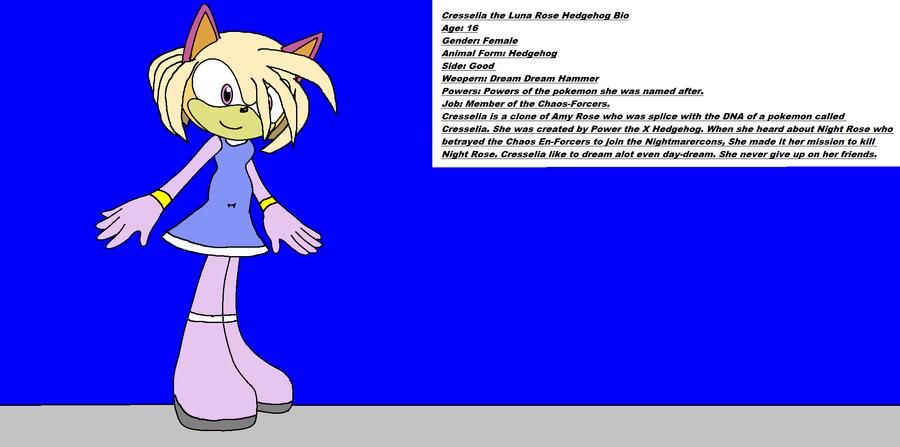 Cresselia the Luna Rose Hedgehog Bio by Power1x