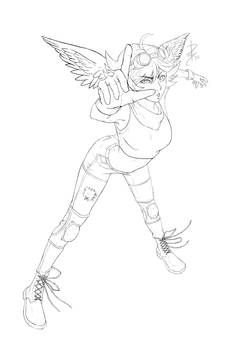 Winged Girl [LINEART]
