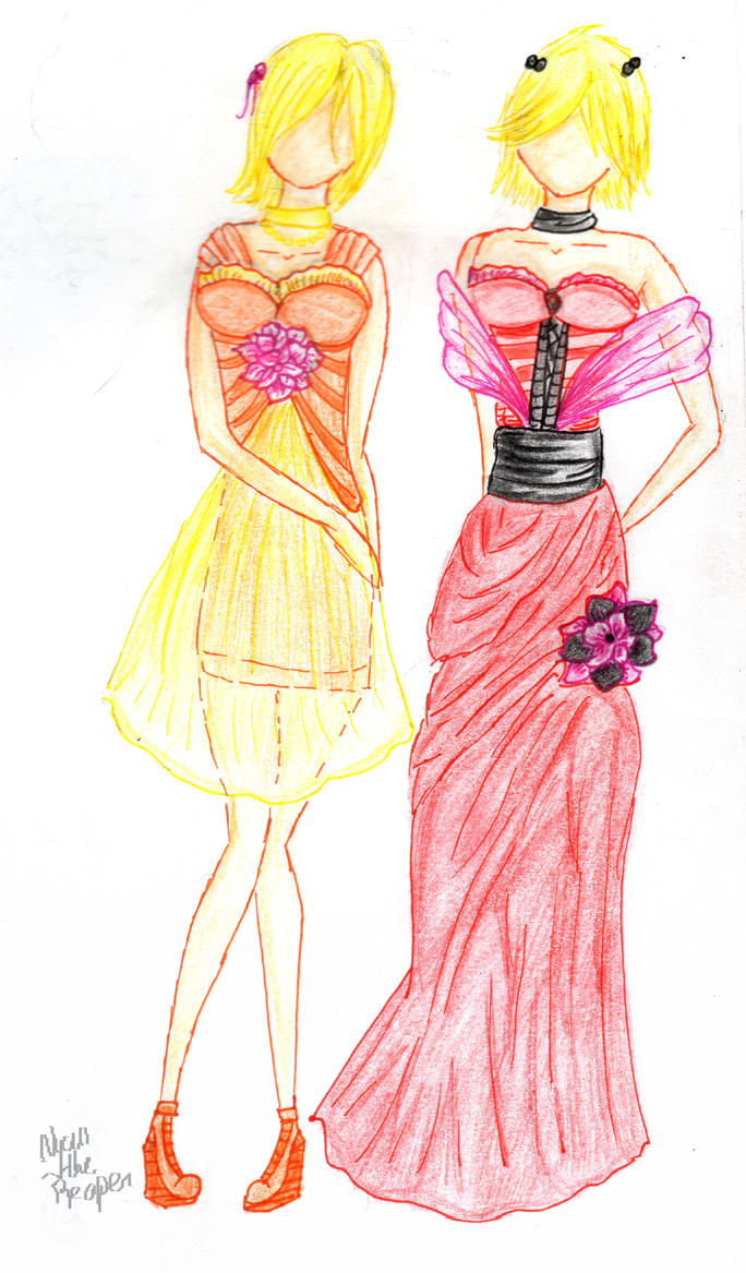 Pink-flower dresses by Nyan-the-Reaper
