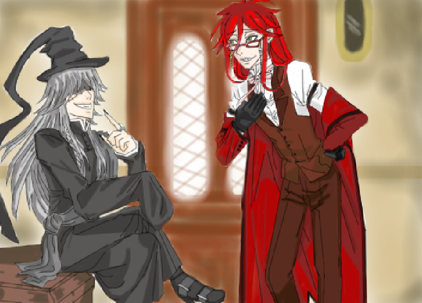 Grell serving the Undertaker by PlacebicYue on DeviantArt