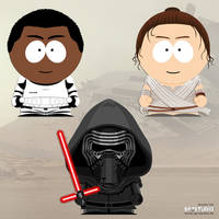 Finn, Rey and Kylo Ren in South Park