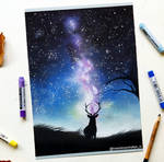 'Lonely stag' pastel drawing