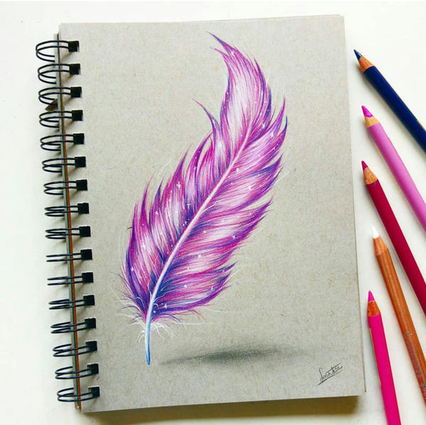 Feather With Colored Pencil By Tinesdierportretten On