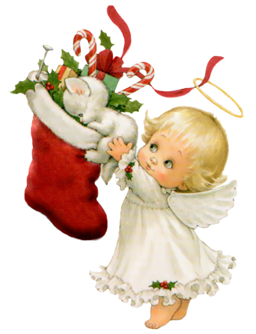 Cute Christmas Angel with White Kitten and Stockin by joeatta78 on ...