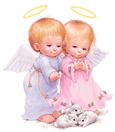 Cute Baby Angels with Bunnies Free PNG Clipart Pic by ...