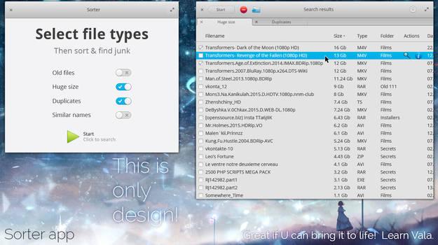 elementary OS Sorter app mockup version 4