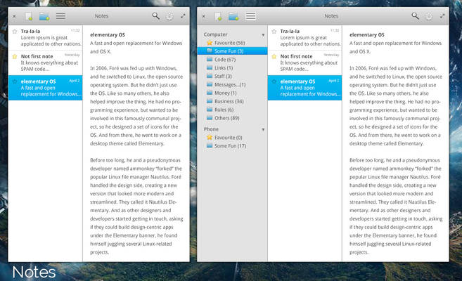 elementary OS Notes app mockup version 2