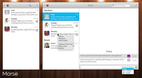 Morse messenger app mockup version 2