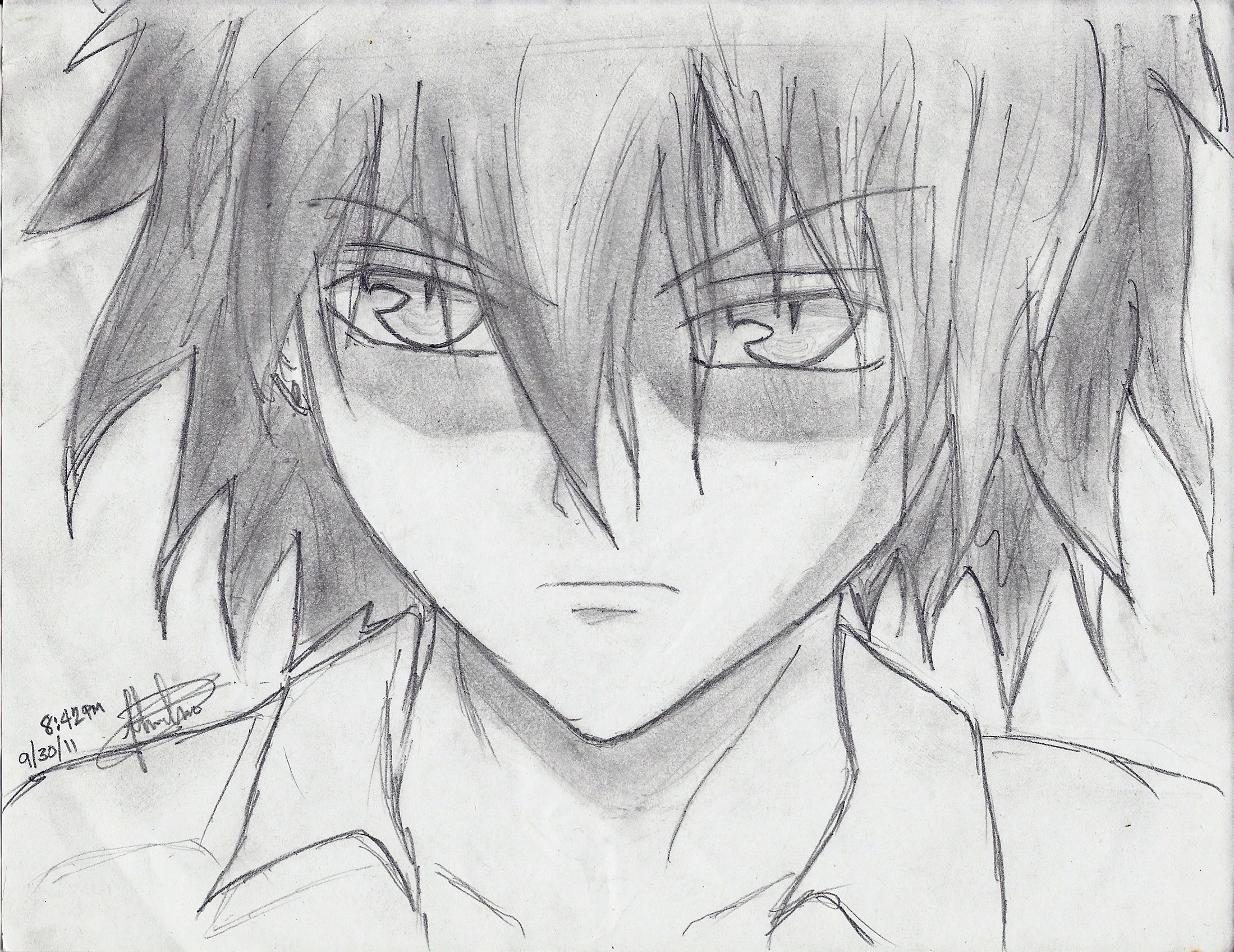 Anime guy by darkbladez15 on deviantart for Cool easy anime drawings