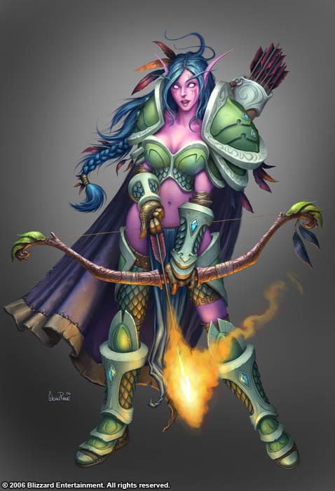Night Elf Huntress by GlennRaneArt