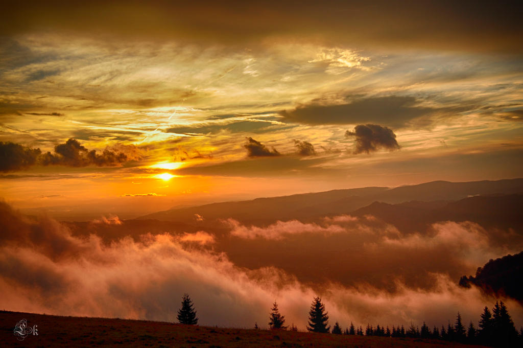 the sun sets the sky on fire V by Lk-Photography