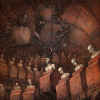 Cover art for HORROR GOD / TECHNE split CD