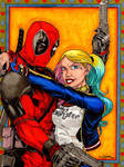 Deadpoool and Harley Quinn Penciled, Inked,Colored