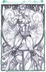 Carol Danvers Captain Marvel pencils on 11 x 17